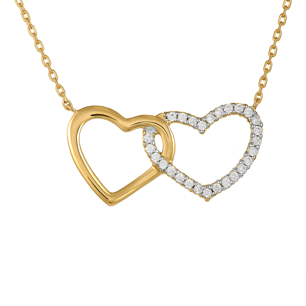 Milena Two Hearts 18K Gold Plated Necklace with Cubic Zirconia | Avenue Petit Lou