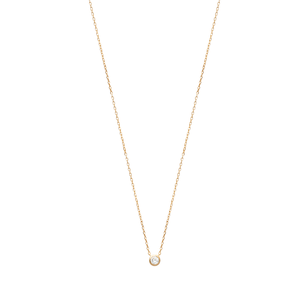 Liberty 18K Gold Plated Necklace with Solitary Cubic Zirconia | Avenue Petit Lou