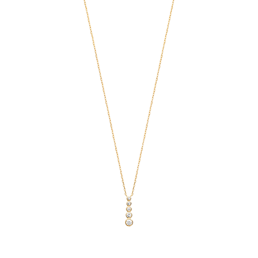 Elizabeth 18K Gold Plated Necklace with Cubic Zirconia – Vertical | Avenue Petit Lou