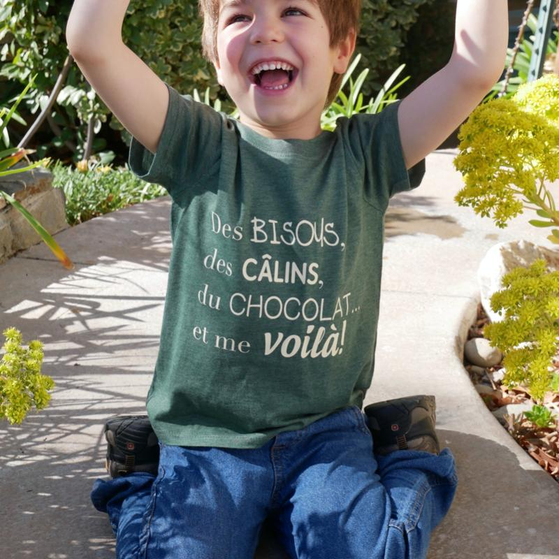 Kids Organic Green T-shirt - French Designs | Avenue Petit Lou