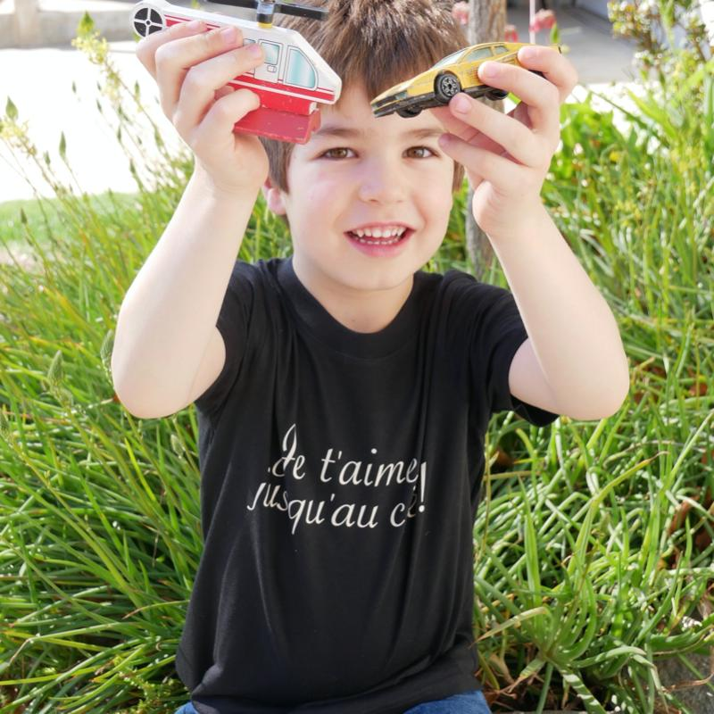 "Organic Toddler T-Shirt - French ""I Love You"" 