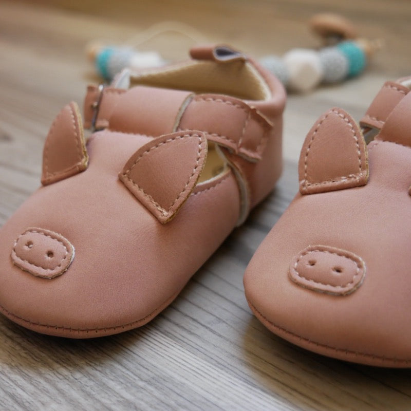 Pink Piggy Baby Shoes  | Avenue Petit Lou