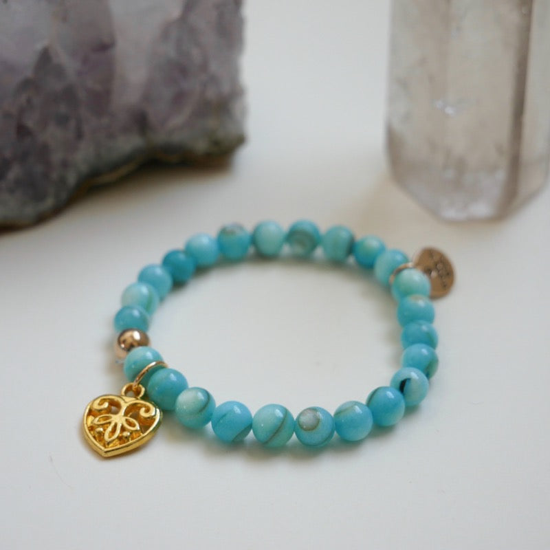 Stretch CHARM Bracelets - Golden Heart | Avenue Petit Lou