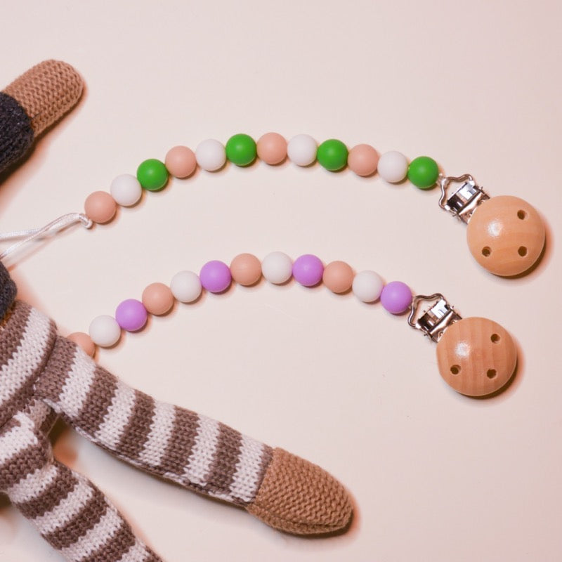 Colorful Pacifier Clip - Silicone + Organic Wood