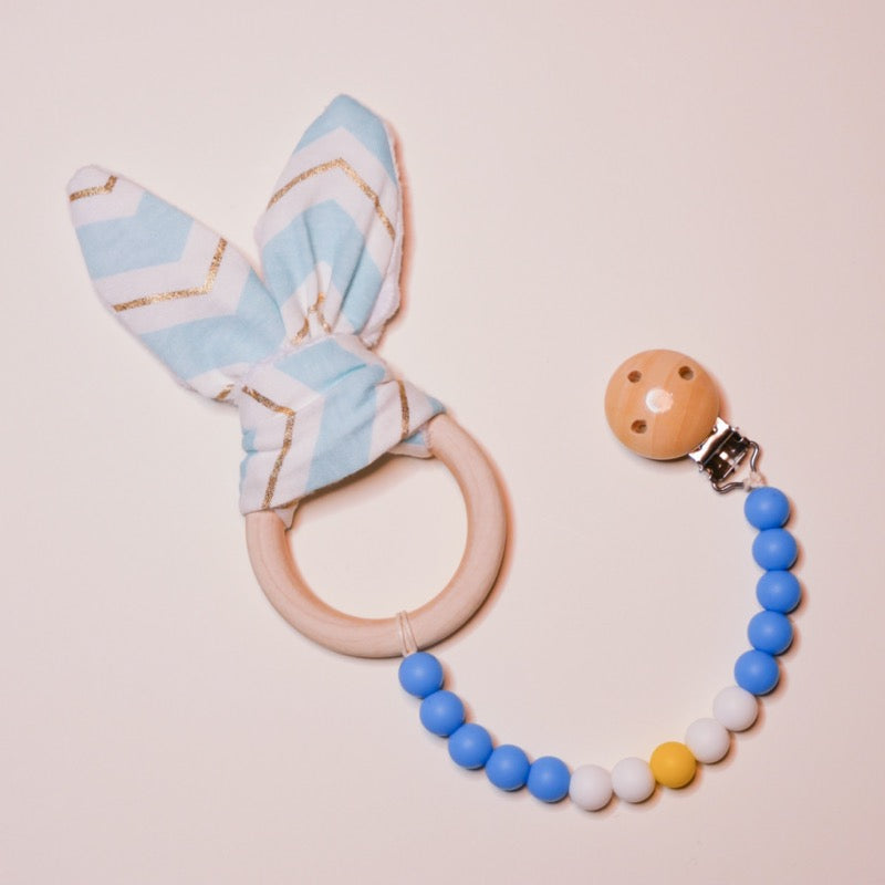 Sensory Bunny Ears Ring Teether + Wood Clip | Avenue Petit Lou