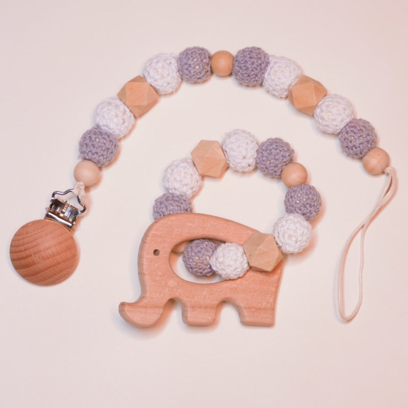 Pacifier Clip + Teething Ring Combo | Avenue Petit Lou
