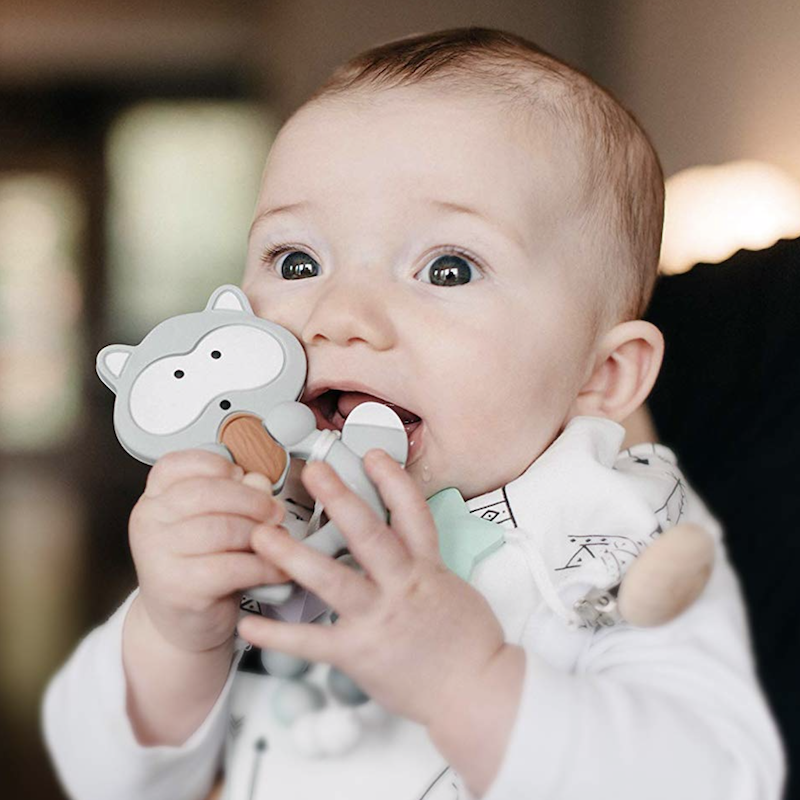 Baby Teething Raccoon + Pacifier Clip - Avenue Petit Lou