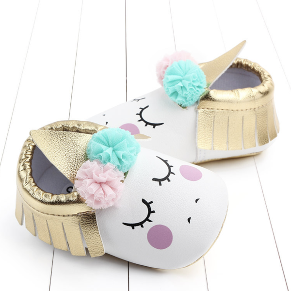 Pompom Unicorn Baby Shoes  | Avenue Petit Lou