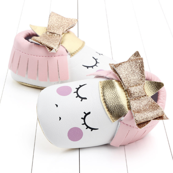Glitter Bow Unicorn Baby Shoes  | Avenue Petit Lou