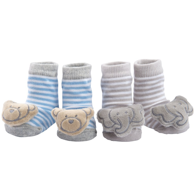 Socks 2 PK Rattle Bear/Elephant