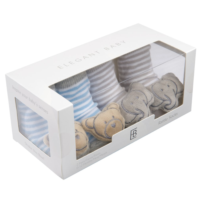 Socks 2 PK Rattle Bear/Elephant - Avenue Petit Lou