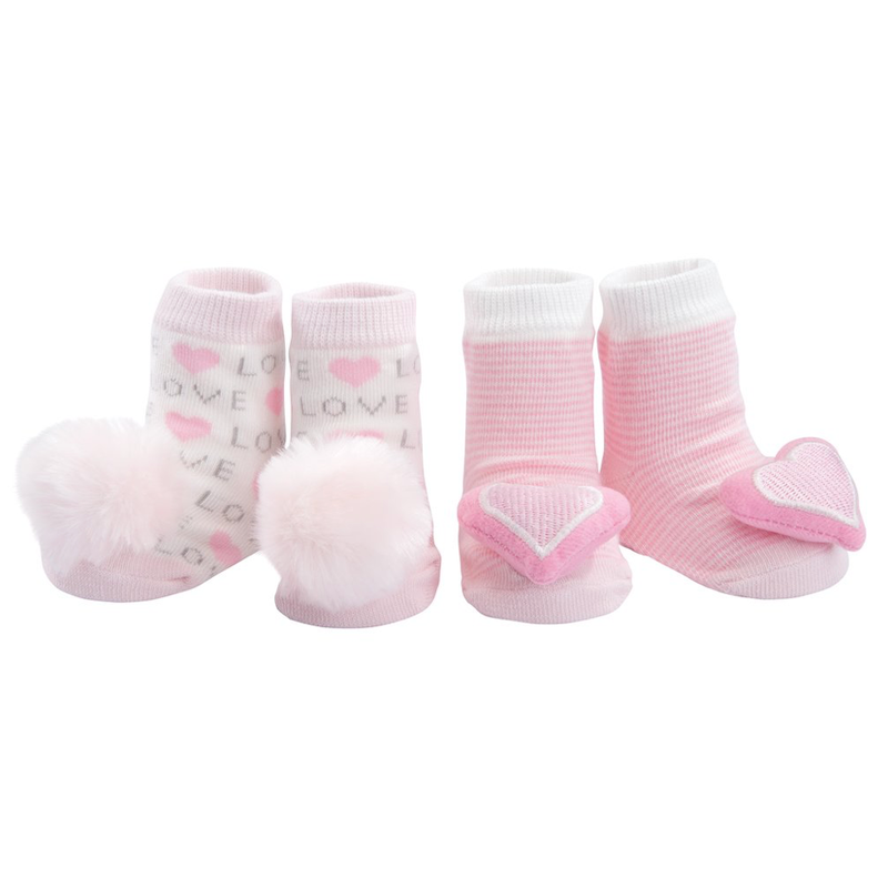 Socks 2 PK Rattle Love Pink - Avenue Petit Lou