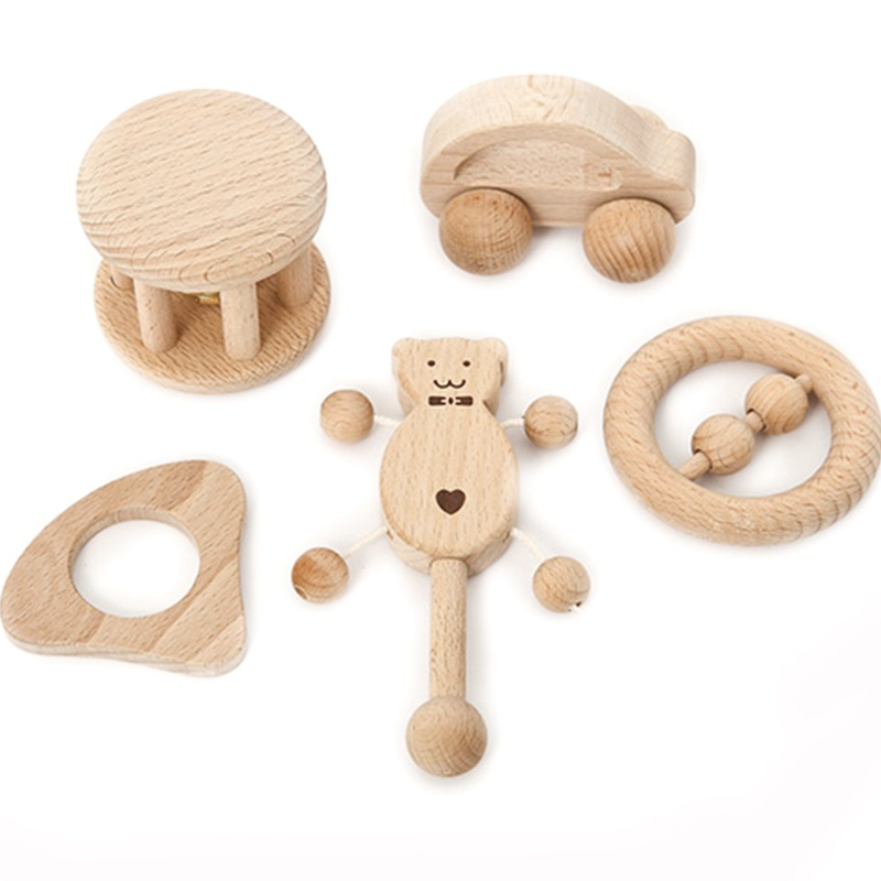 5 Piece Wooden Toys for Newborn Baby - Avenue Petit Lou