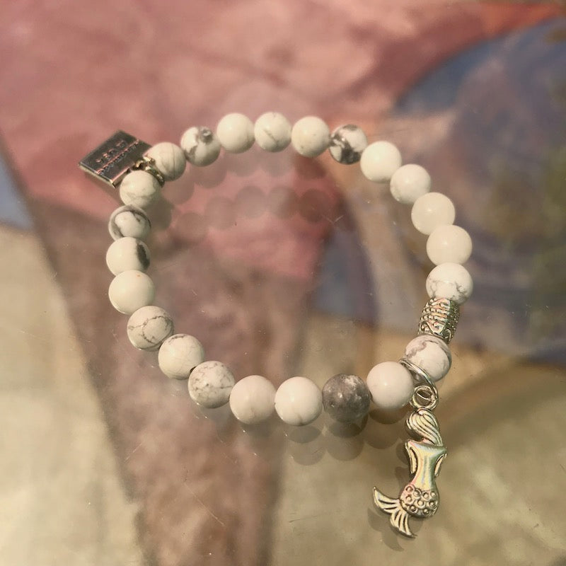 Stretch CHARM Bracelets - Silver Mermaid | Avenue Petit Lou