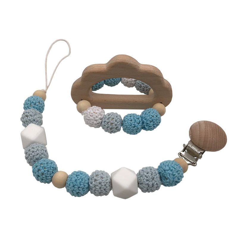 Pacifier Clip + Teething Ring Combo - Avenue Petit Lou
