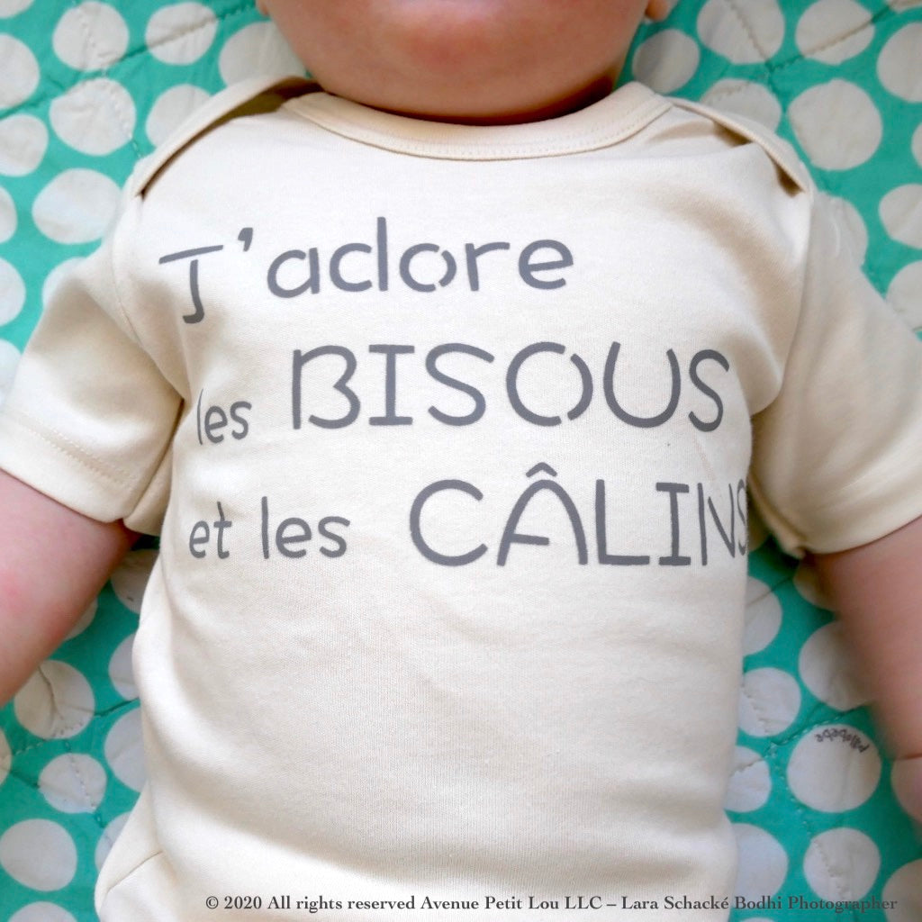 "Organic Natural Baby Onesie - French ""J'adore"" 