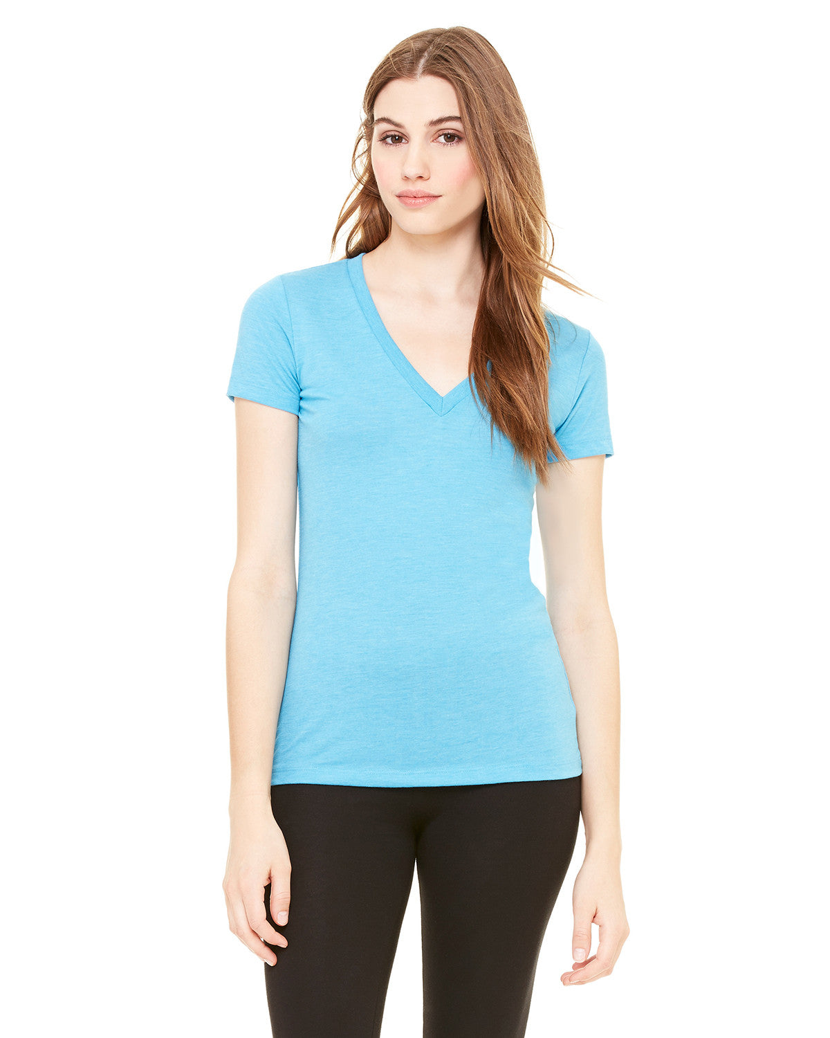 Ladies Triblend Deep V-neck T-shirt