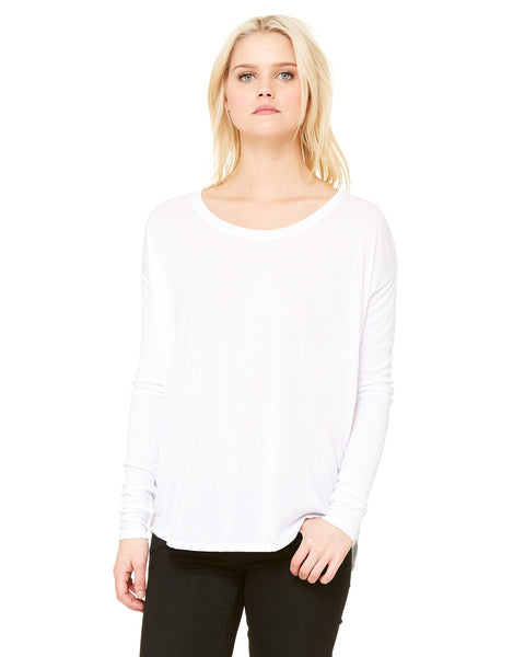 Ladies Flowy Long Sleeve Tee With 2x1 Sleeves