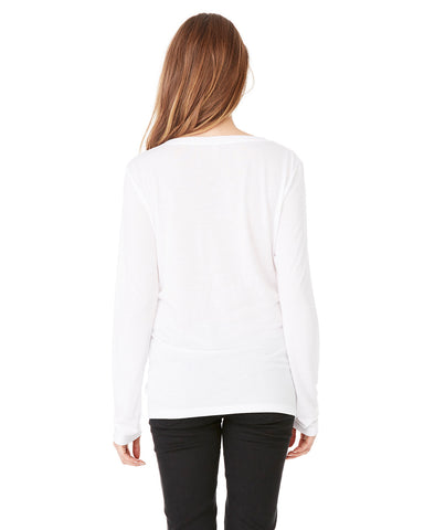 Ladies Flowy Long Sleeve V-Neck T-shirt