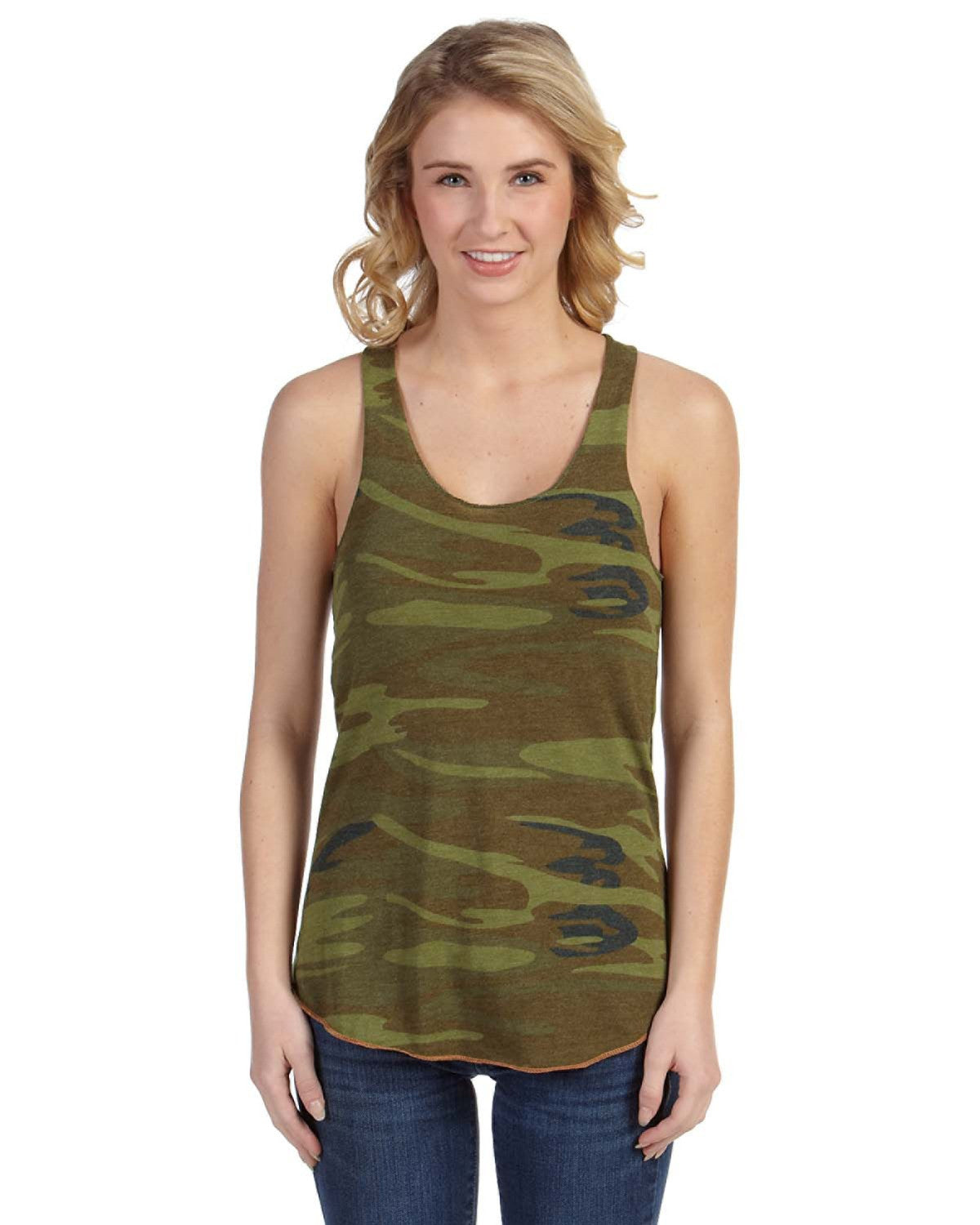 Ladies Printed Meegs Eco-Jersey Racer Tank