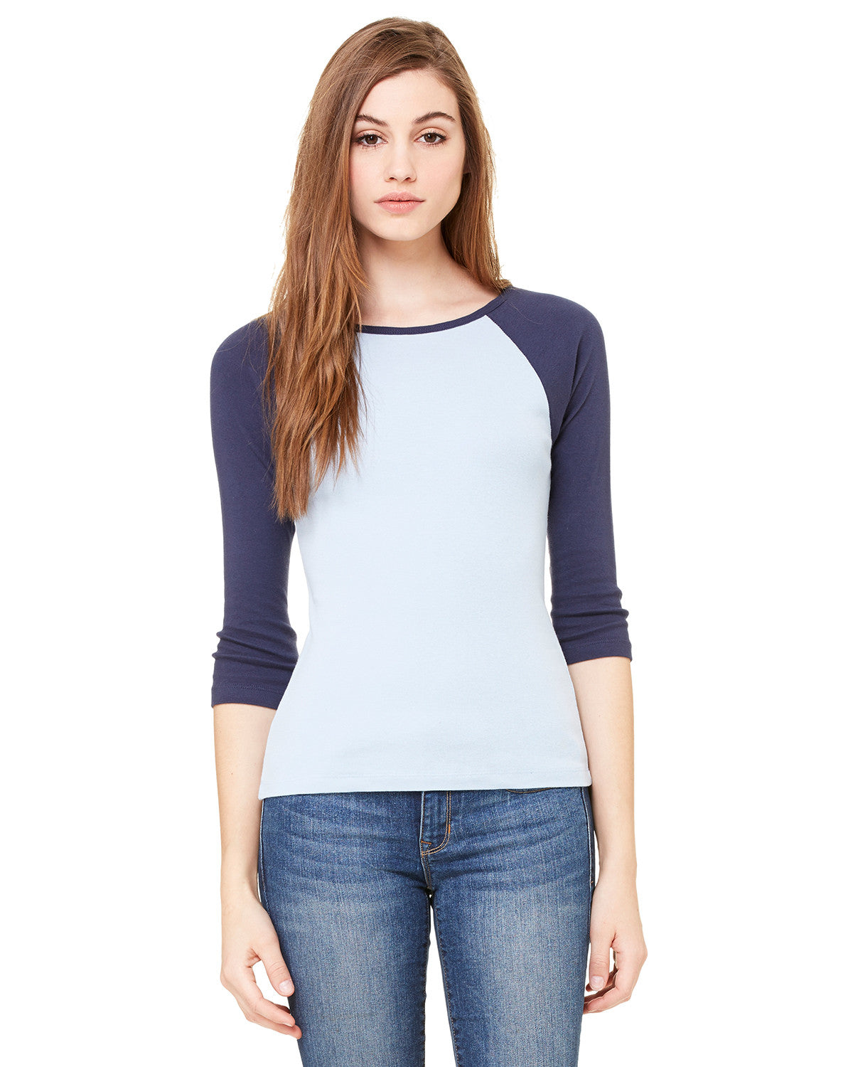 Ladies Baby Rib Three Quarter Sleeve Contrast Raglan Tee