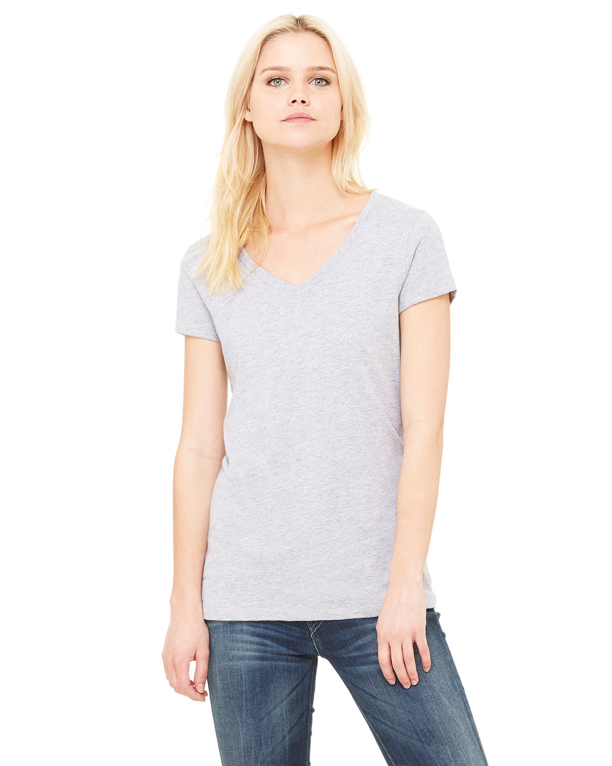 Ladies Short Sleeve Jersey V-neck Tee