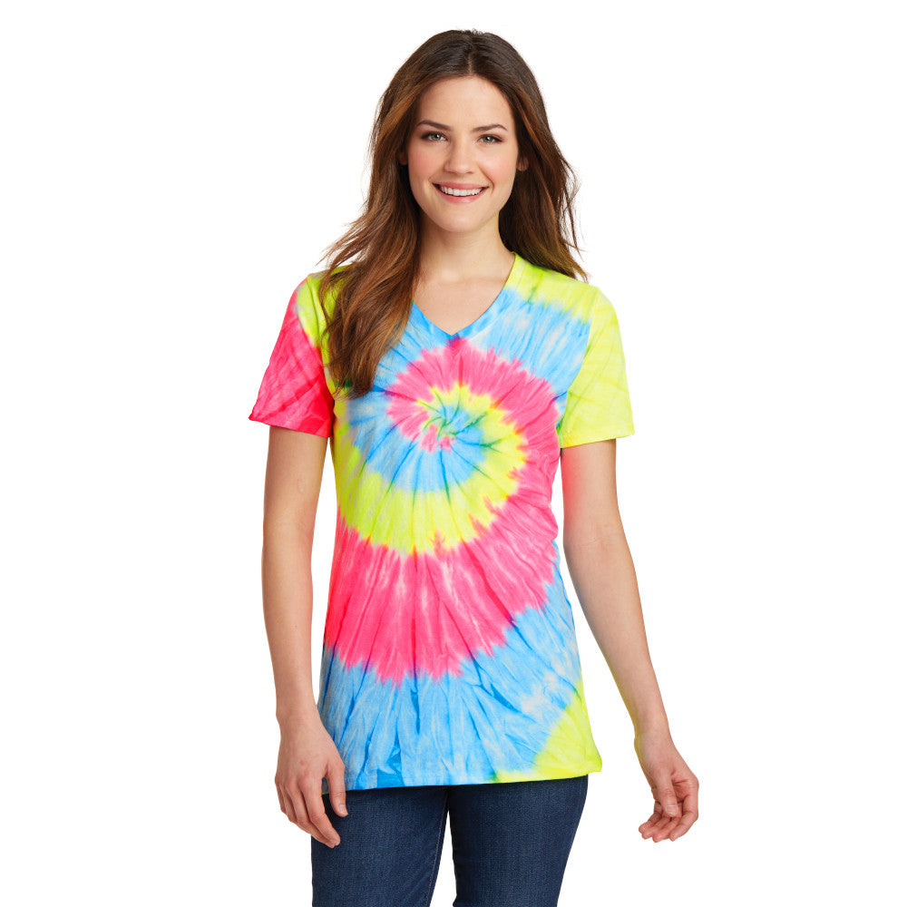 Port & Company Ladies Tie-Dye V-Neck Tee