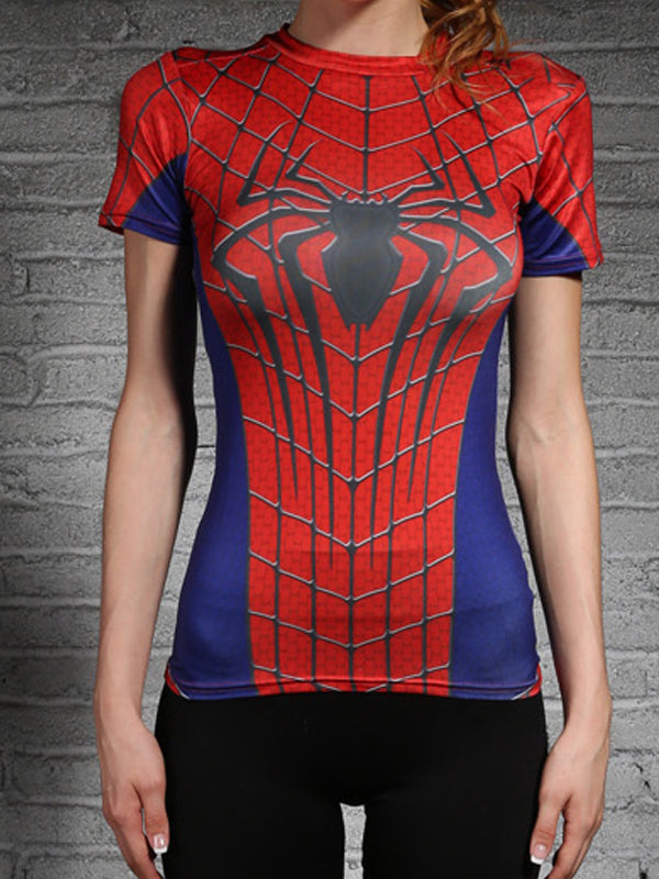Spiderman Female Tight Elastic Compression Sport/Gym Short-Sleeved T-shirt