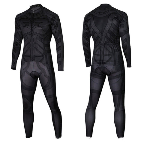 Black Panther Cycling Long Sleeve Jersey+Pants Man of Steel Bicycle Set Suit Sz S-3XL