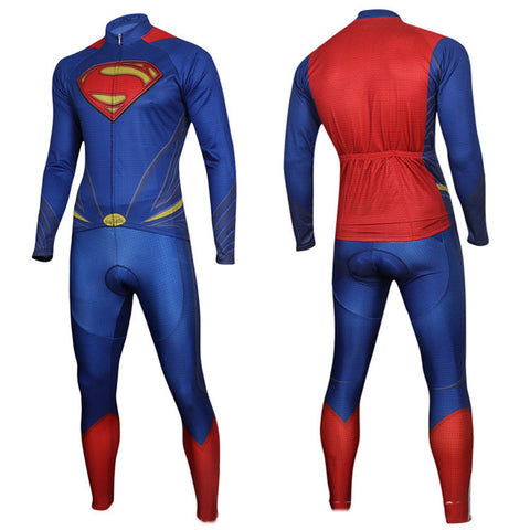 Superman Cycling Long Sleeve Jersey+Pants Man of Steel Bicycle Set Suit Sz S-3XL