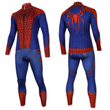 New Spiderman Cycling Long Sleeve Jersey+Pants Man of Steel Bicycle Set Suit Sz S-3XL
