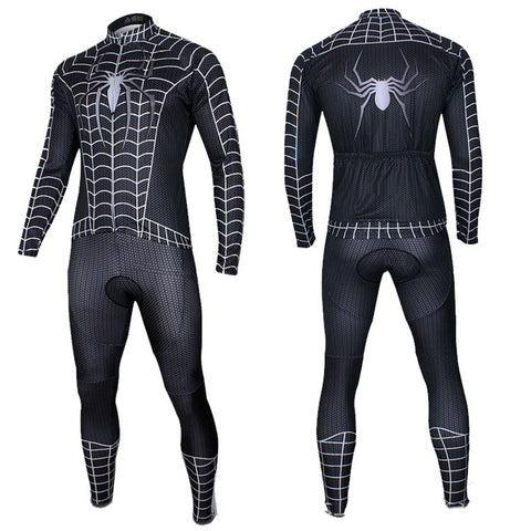 Black Spiderman Cycling Long Sleeve Jersey+Pants Man of Steel Bicycle Set Suit Sz S-3XL