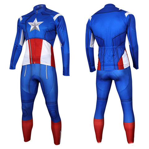 Captain America Superman Cycling Long Sleeve Jersey+Pants Man of Steel Bicycle Set Suit Sz S-3XL