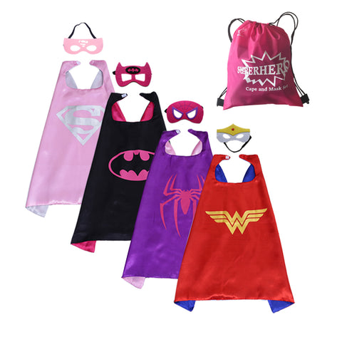 Party Superheros Cape and Mask, Double-Sides Satin Capes Dress up Costumes for Kids, 4 Sets