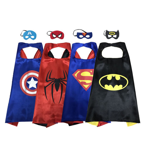 Party Superheros Cape and Mask for Kids, Reversible Satin Capes Dress up Costumes, 4 Sets
