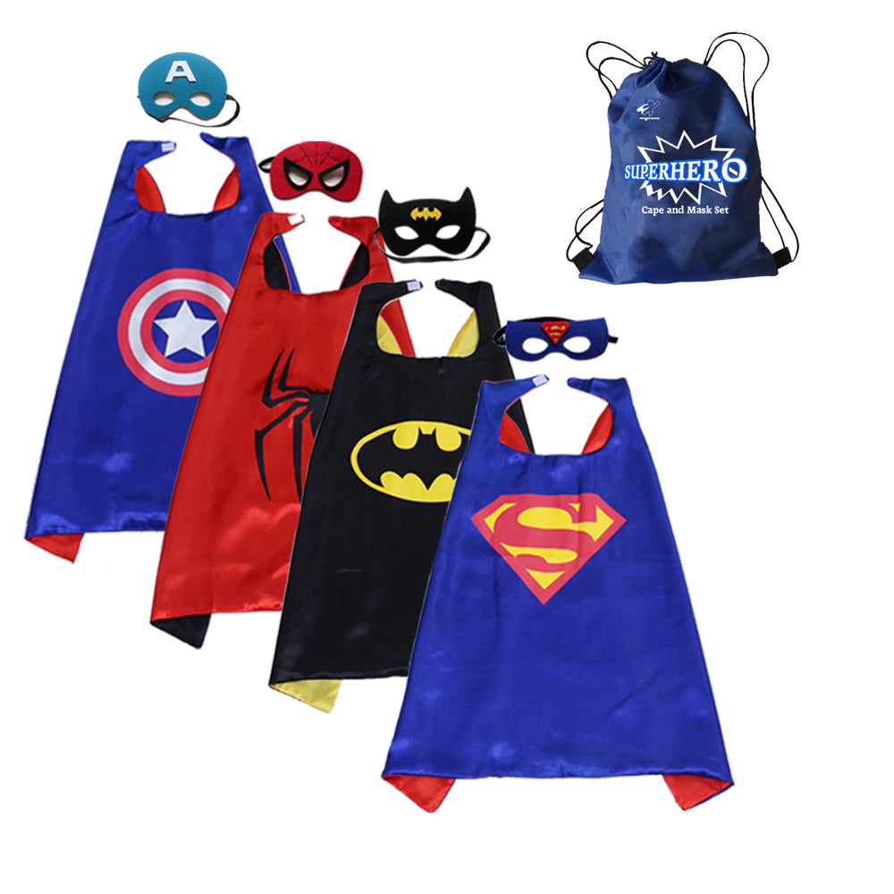 Party Superheros Cape and Mask for Kids, Double-Sides Satin Capes Dress up Costumes, 4 Sets