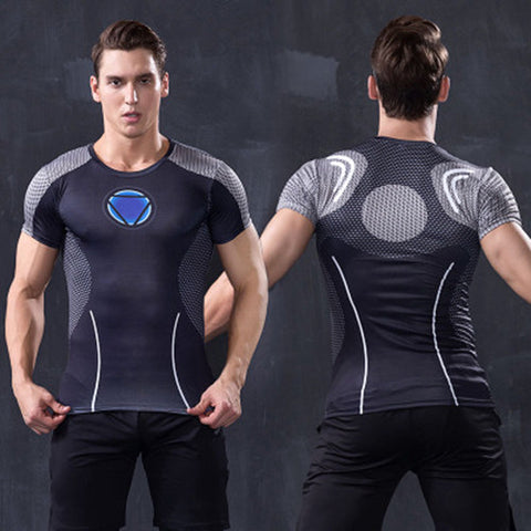 Men's Black Iron Man Compression T-shirt