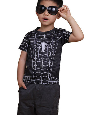 Kids Black Spider Man T-shirt