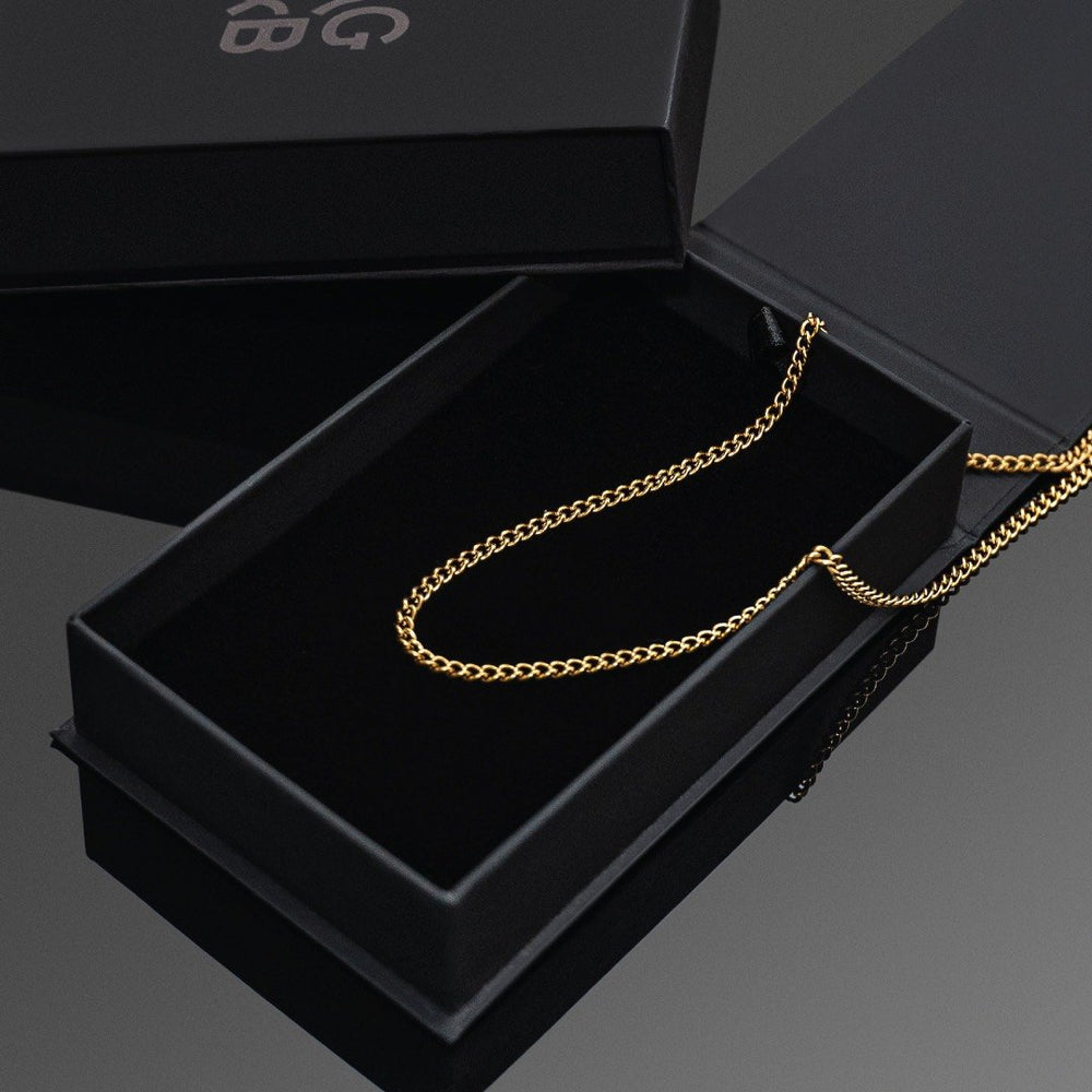 Gold Cuban Link Chain - Our 24KT Gold Plated Cuban Link Chain is available online today. Featuring a Premium Gold Plated Cuban Link Chain & Our Signature RG&B Logo.