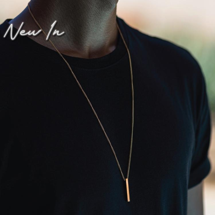 Gold Bar Necklace - Our 24KT Gold Plated Minimal Bar Necklace features our Signature Bar Pendant and Cuban Link Chain. The Perfect piece for any wardrobe.