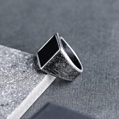 Aged Silver Signet Ring - Aged Silver & Black
