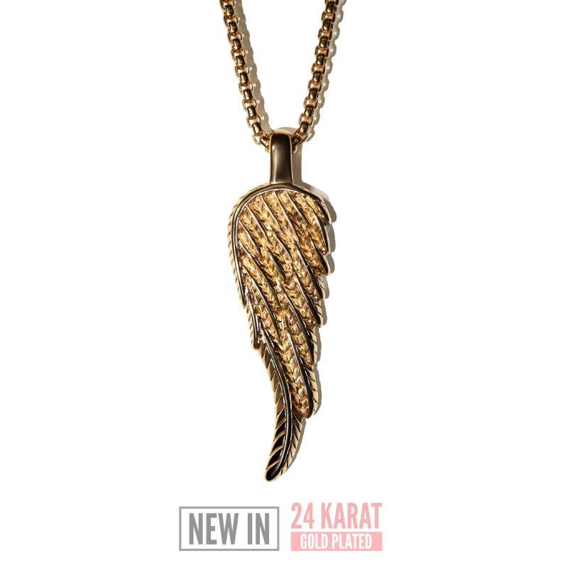 Gold Wing Necklace - Our 24KT Gold Plated Angel Wing Necklace features our Signature Angel Wing Pendant and Box Chain. The Perfect statement piece for any wardrobe.