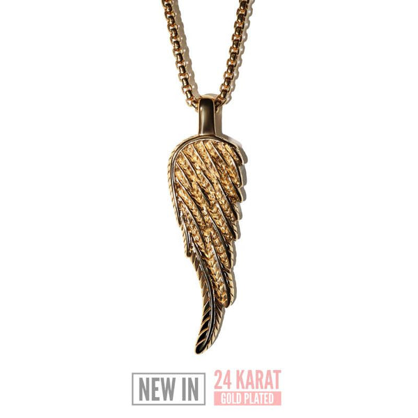 Angel Wing Necklace - 24kt Gold Plated