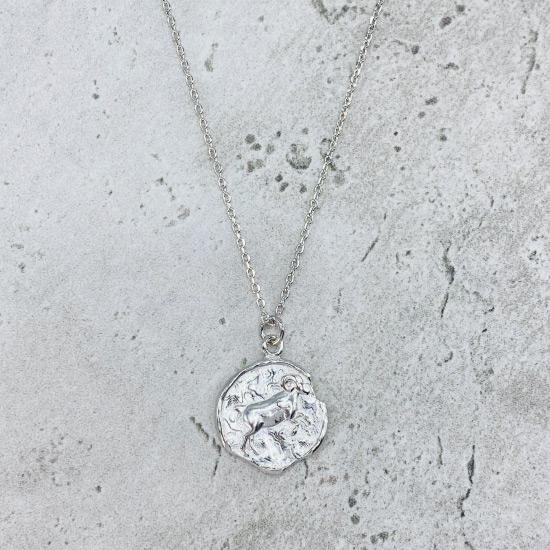 Rhodium Star Sign Coin Necklace - Aries