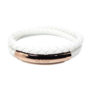 RoseGold and Black, Woven Adjustable Double Bracelet, Rose Gold and White