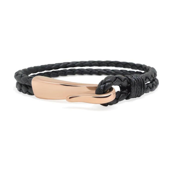 RoseGold and Black - RoseGold & Black Leather Hook Bracelet