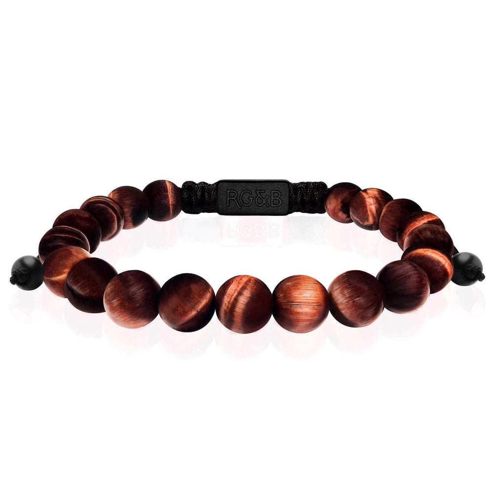 Red Tiger Eye Bead Bracelet - Our Red Tiger Eye Bead Bracelet Features Natural Stones, Waxed Cord and Brushed Black Steel Hardware. A Beautiful Addition to any Collection.