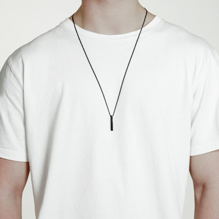Minimal Bar Necklace - All Black