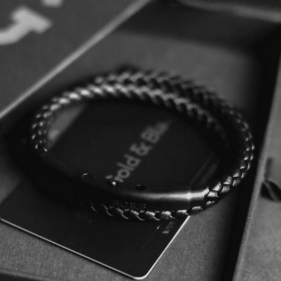 Black Double Leather Bracelet - Our Men's Double Leather Bracelet with Black Leather and a Matte Black Adjustable Clasp Engraved with our Signature RG&B Logo.