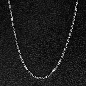 Cuban Link Chain - Solid Oxidised Silver